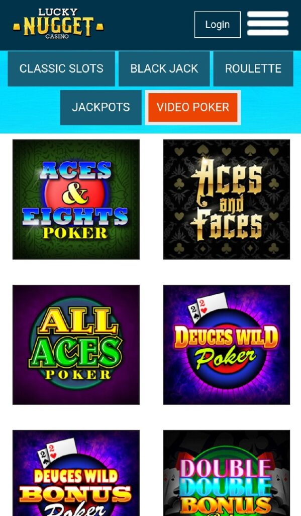 Lucky Nugget Casino - Mobile Video Poker